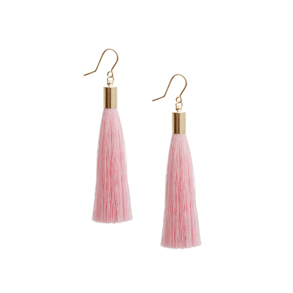 Tassel Earrings, Baby Pink - Gold Plated Silver