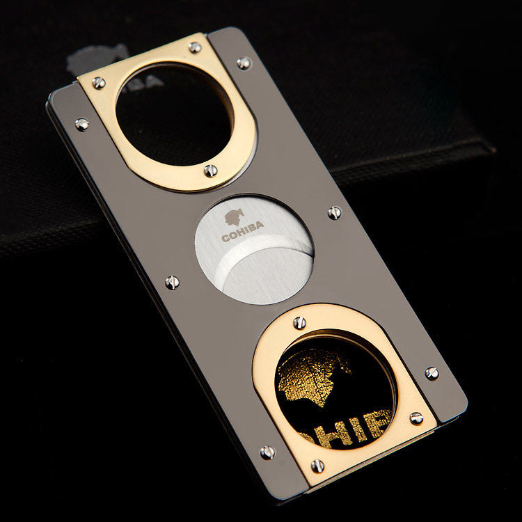 Double Blades Stainless Steel Gold Plated Cigar Cutter - Rich Passion
