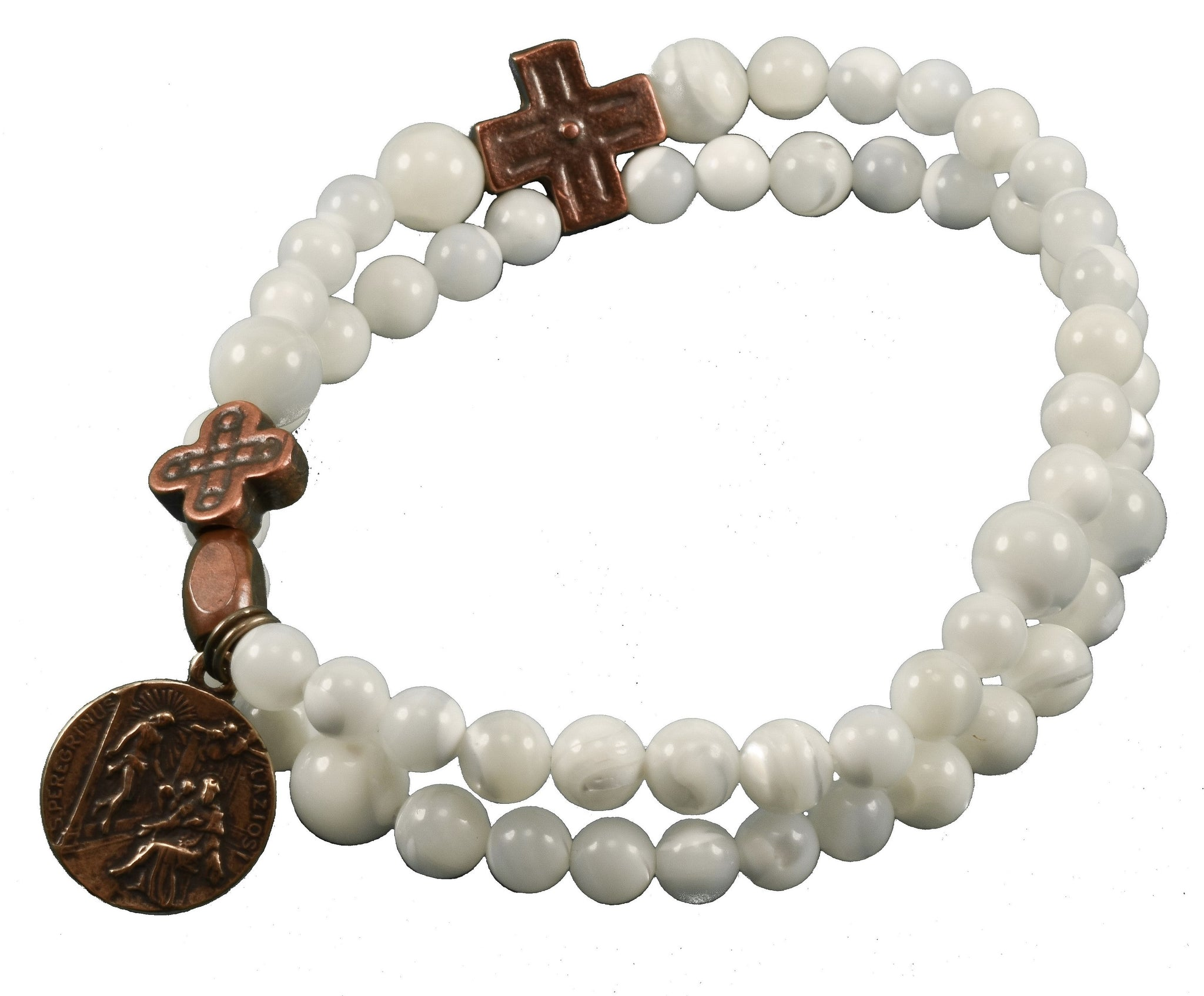 Mother of Pearl Rosary Bracelet with St. Peregrine medal