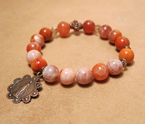 Fire Agate Rosary Bracelet, Mary with Daisy