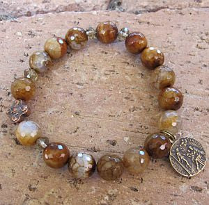 Fire Agate Rosary Bracelet with St. Peregrine