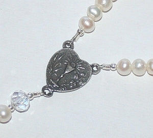 First Communion Rosary Bracelet, Freshwater Pearl and Sterling