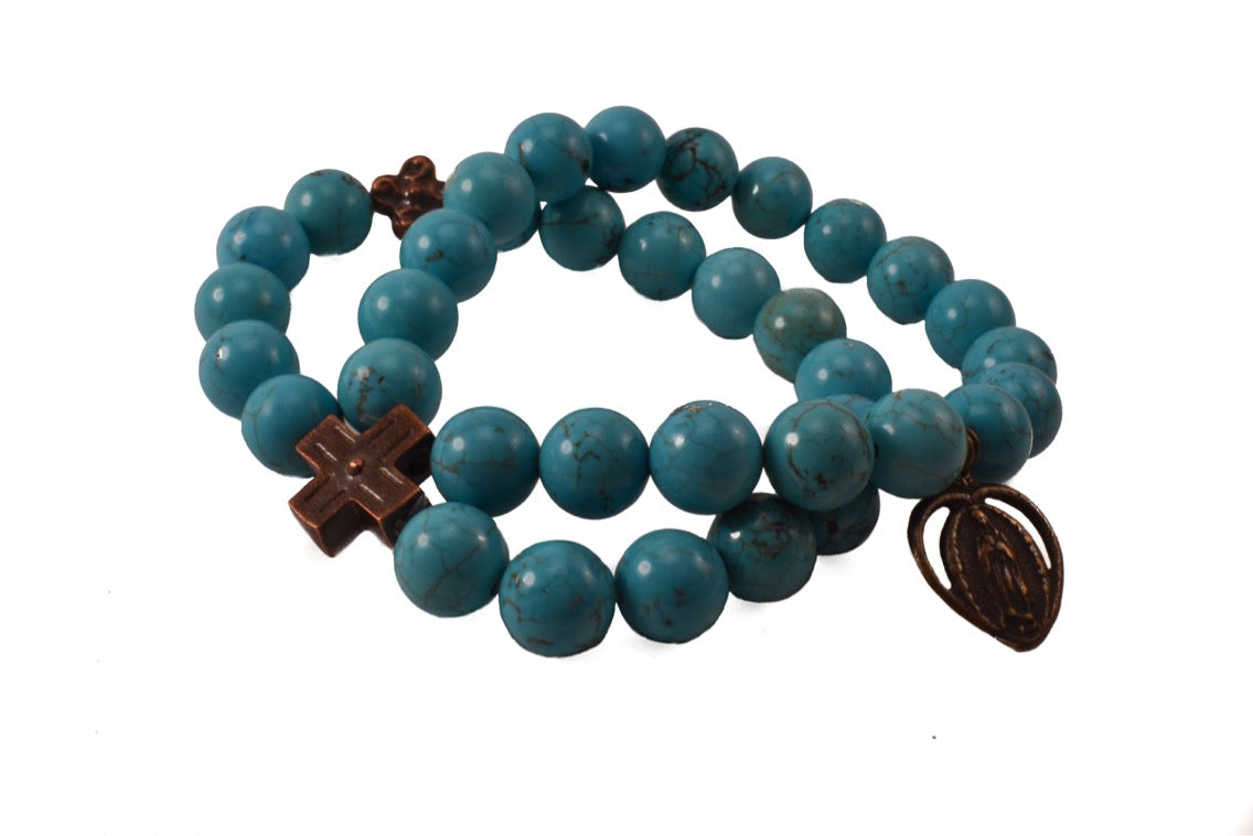 Turquoise bead bracelet with Our Lady of Guadalupe bronze medal