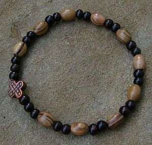 Simple olivewood and sandalwood Rosary bracelet