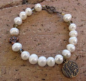 Pearl Rosary Bracelet with St. Peregrine