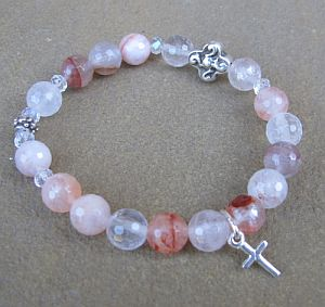 Pink agate First Communion rosary bracelet