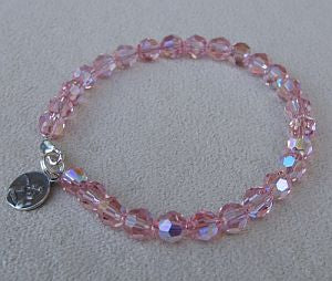 Pink Crystal Bracelet with Guardian Angel