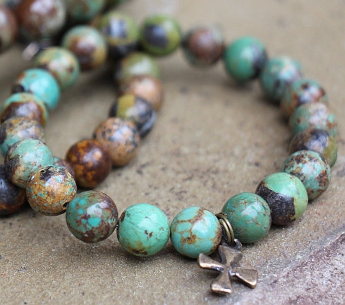 Divine Mercy Bracelet on Natural Turquoise