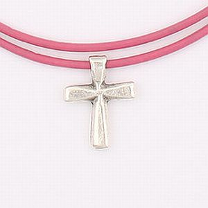 Bevel cross necklace on pink leather