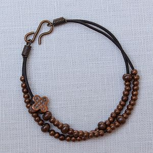 Leather and Bronze Bead Rosary Bracelet
