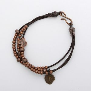 Bronze bead and leather rosary bracelet with Miraculous Mary