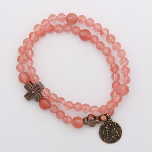 Cherry Quartz Rosary Bracelet with St. Peregrine Medal (breast cancer pink)