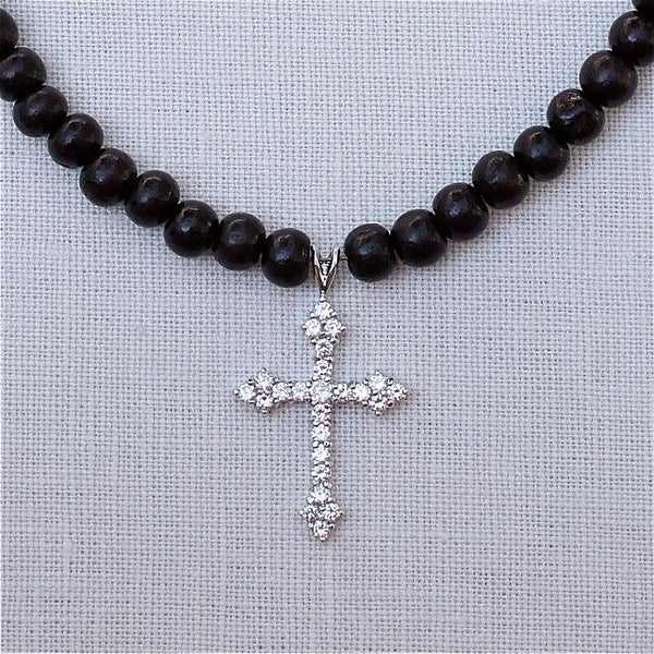 Sterling Fleur De Lis Cross on Sandalwood