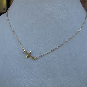 Gold Filled Side cross necklace
