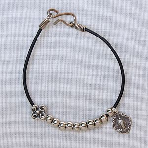 Leather Rosary Bracelet with Miraculous