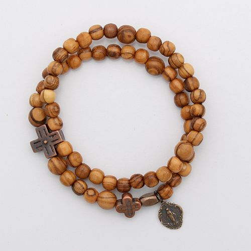 Olivewood Rosary Bracelet with Miraculous Mary charm