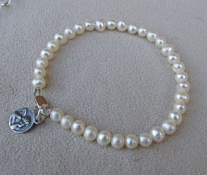 Pearl Bracelet with Guardian Angel