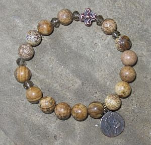 Picture Jasper Saint Peregrine Rosary Bracelet, single decade