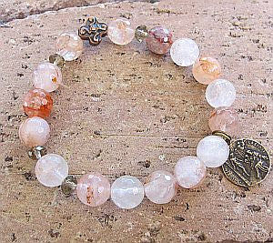 Pink Agate Rosary Bracelet with St. Peregrine