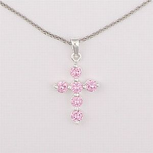 Sterling pink cross necklace