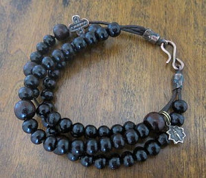 Sandalwood Rosary Bracelet, 3 strand on leather