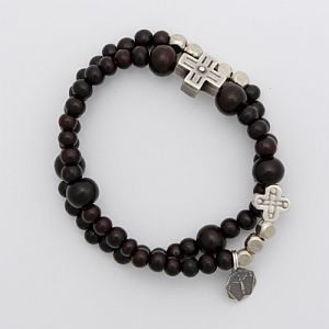 Sandalwood Rosary Bracelet with Lord of Miracles charm (Special Miracle Rosary Bracelet)
