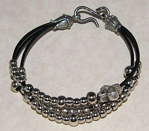 Silver Leather Rosary Bracelet