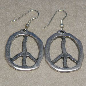 Silver Retro Peace Earrings