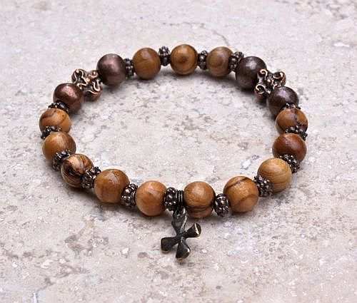 Olivewood Single Decade Rosary Bracelet