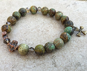 Natural Turquoise green/brown tone Rosary Bracelet