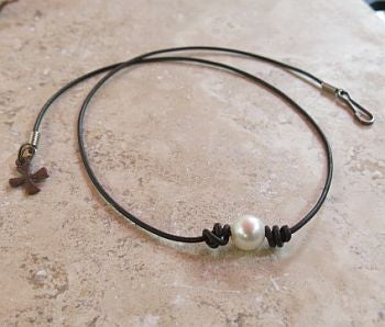 Pearl on Leather Necklace