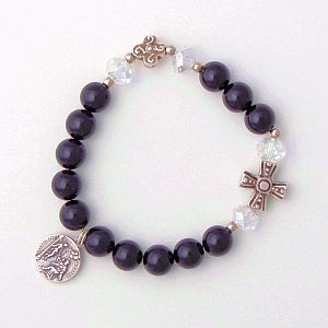 St. Peregrine (Patron Saint for Cancer victims) Black Onyx single decade rosary bracelet
