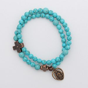 Turquoise Rosary Bracelet with bronze Our Lady of Guadalupe charm