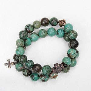 Green/Brown Turquoise Dbl Bracelet