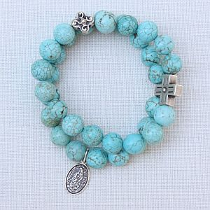 Our Lady of Guadalupe Double Turquoise Bracelet