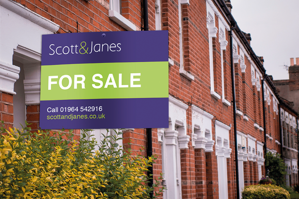 C J Display standard estate agents sign boards