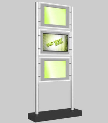 "Freestanding Display with 2 x A3 Landscape Light Panels and 1 x 22"" Media Screen"