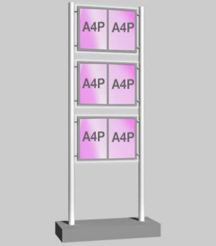 Freestanding Display with 3 x Double A4  Portrait Light Panels