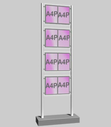 Freestanding Display with 4 x Double A4 Portrait Light Panels