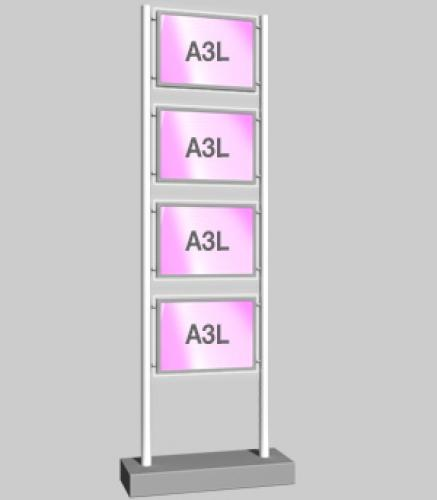 Freestanding Display with 4 x A3 Landscape Light Panels