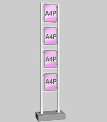 Freestanding Display with 4 x A4 Portrait Light Panels