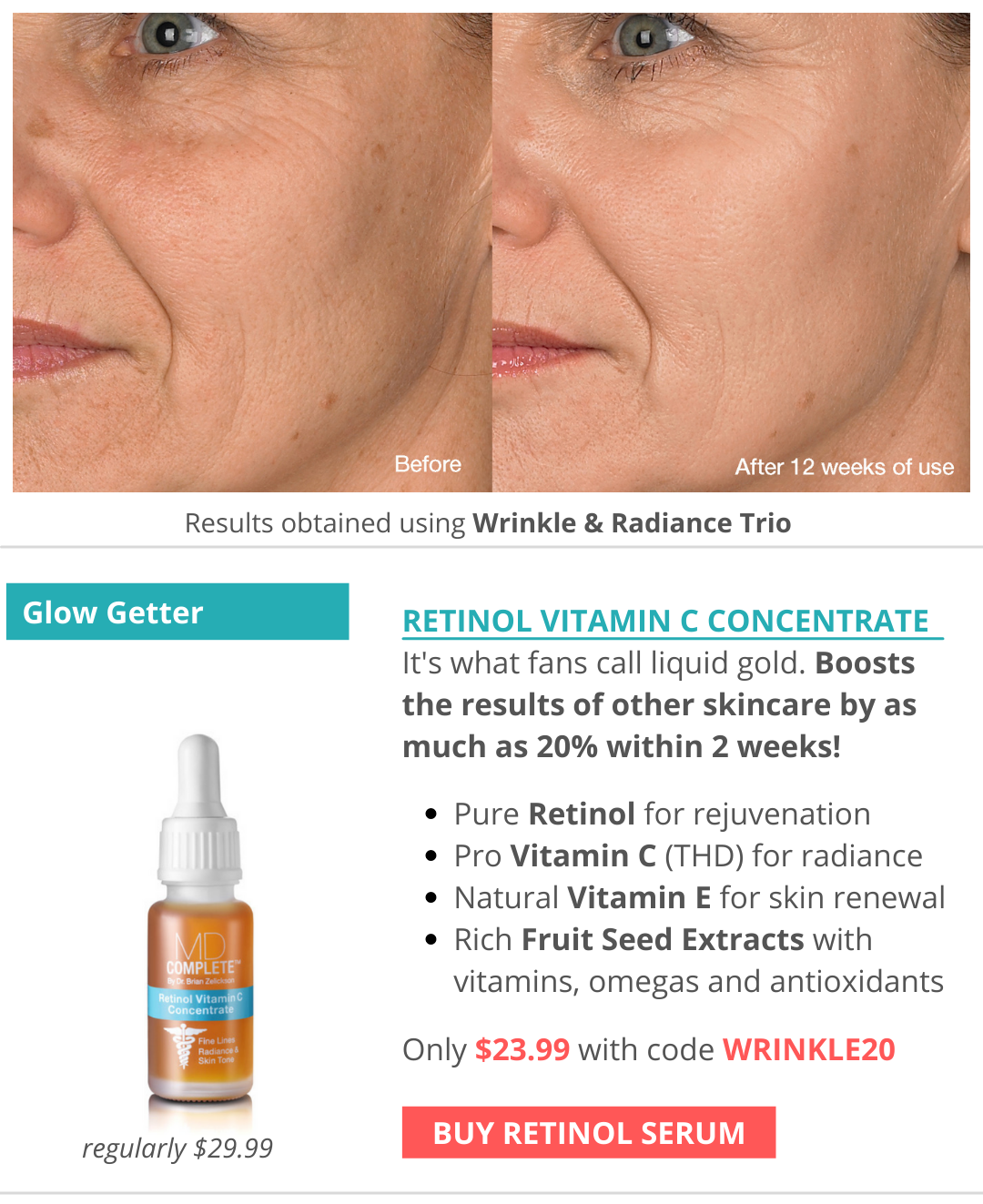 Boosts the results of other skincare by as much as 20% within 2 weeks!