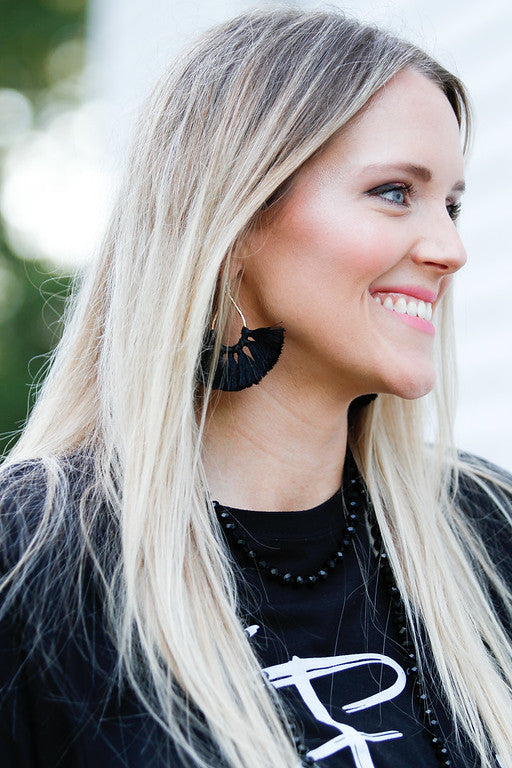 Black Fan Tassel Earring