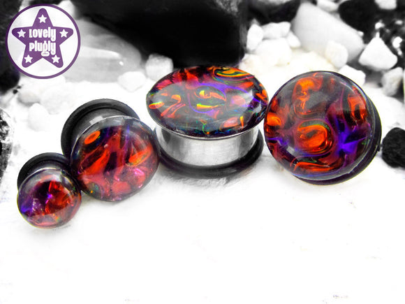 Ear Plugs / Gauges - Alien Skin Bronze Purple Rainbow Plugs PREORDER
