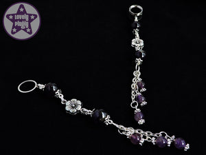 Ear Weights / Hangies: Purple Amethyst with Silver Tone Flowers PAIR