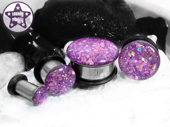 Ear Plugs / Gauges - Holographic Purple Aubergine Glitter Plugs PREORDER