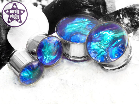 Ear Plugs / Gauges: Aurora Borealis Blue Green Translucent Faux Dichro