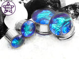 Ear Plugs / Gauges - Faux Dichroic Aurora Borealis Blue Green Plugs PREORDER