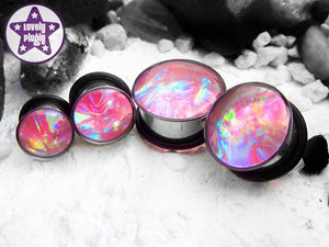 Ear Plugs / Gauges: Aurora Pink Rainbow Translucent Faux Dichroic