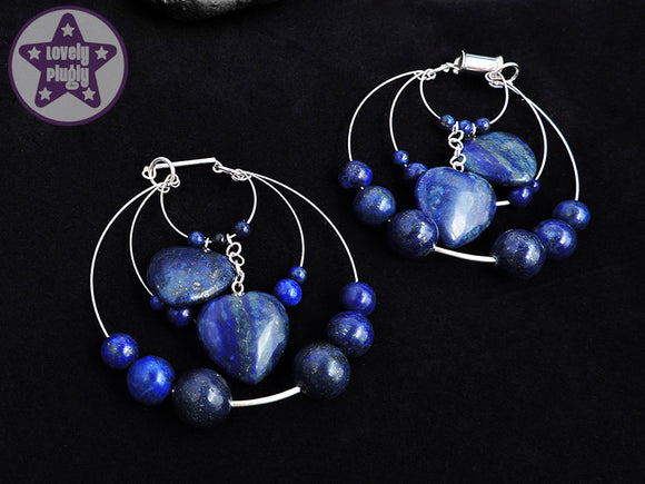 Ear Weights / Hangies: Blue Lapis Lazuli Stone Heart Hoops PAIR